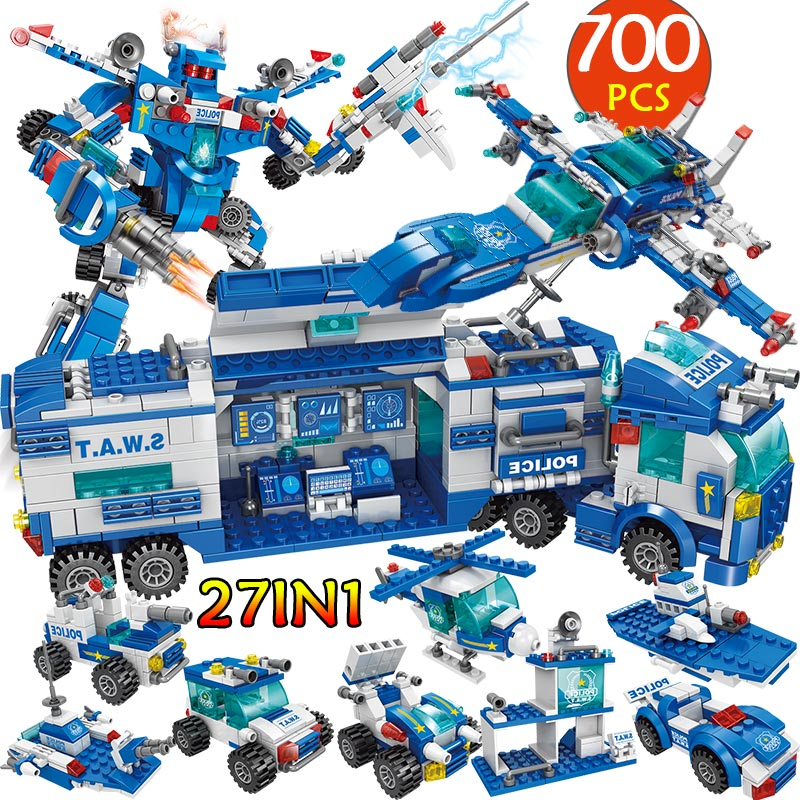 City Police Station Car Headquarters Building Blocks Legoingly Technic Truck SWAT WW2 Military Bricks Toys For Children Kids