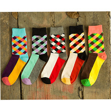COSPLACOOL New Brand socks British Style Plaid Socks Gradient Color High Quality Men s Cotton