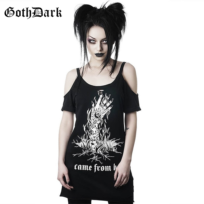 Goth Dark Grunge Punk Gothic Summer T-shirts Harajunku Strap Backless Vintage Aesthetic Female Long T-shirts Fashion Black Print