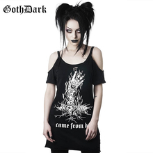 Goth Dark Grunge Punk Gothic Summer T-shirts Harajunku Strap Backless Vintage Aesthetic Female Long Fashion Black Print