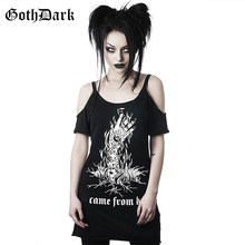 Goth Dark Grunge Punk Gothic Summer T-shirts Harajunku Strap Backless Vintage Aesthetic Female Long T-shirts Fashion Black Print(China)