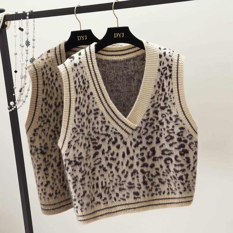 Vintage Print Leopard Womens Vest O Neck Sleeveless Sucking Short Knitting Waistcoat For Women Spring 2019 Fashion Tide