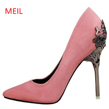 2019 Extreme 10cm Pink Shoes Woman High Heel Pumps Pointed Toe Hakken Fetish Metal stiletto Heels Ladies Footwear Scarpins Shoes fashion sweet women 10cm high heels pumps female sexy pointed toe black red stiletto high heels lady pink green shoes ds a0295