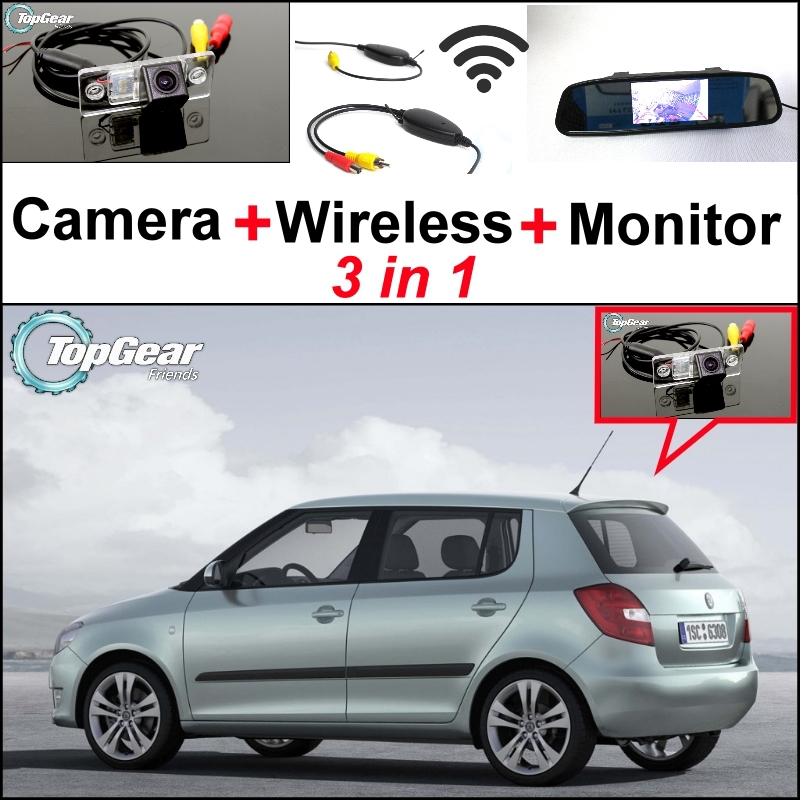 3 in1 Special Rear View Wifi Camera + Wireless Receiver + Mirror Monitor Easy DIY Back Up Parking System For Skoda Fabia 5J MK2 3 in1 special wifi rear view camera wireless receiver mirror monitor easy diy parking system for chevrolet malibu 2012 2014