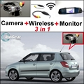 3 in1 Special Rear View Wifi Camera + Wireless Receiver + Mirror Monitor Easy DIY Back Up Parking System For Skoda Fabia 5J MK2