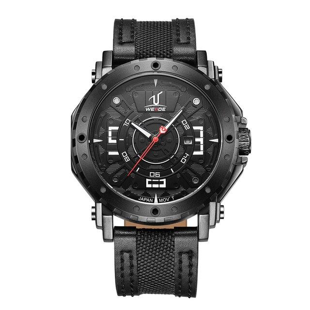 WEIDE Men Sport Watch Analog Black Leather Strap Band Japan Quartz Movement Date Calendar Display Hardlex Waterproof Wristwatch