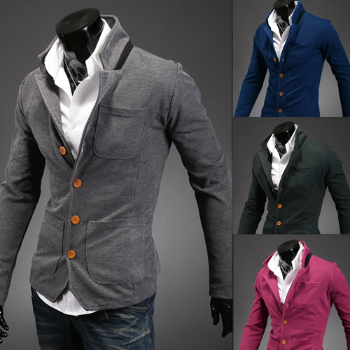 dc61c5073c6 Men's suit New Year new style fashion collar men's cultivate morality and  single suit collar thin coat color matching small suit-in Blazers from Men's  ...