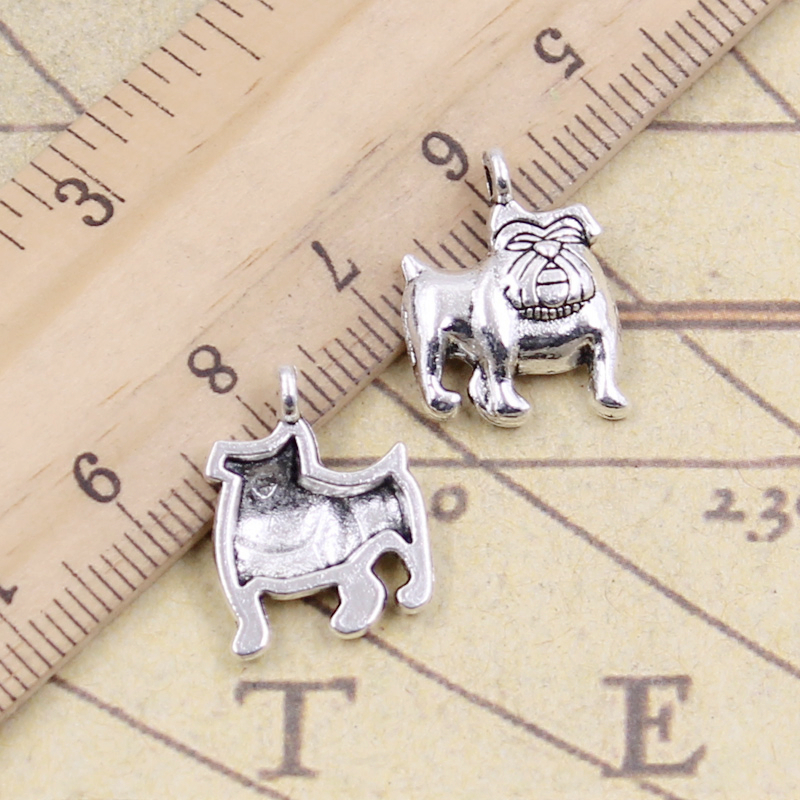 10pcs Charms Dog Pug Bulldog 17x13mm Tibetan Silver Plated Pendants Antique Jewelry Making Diy Handmade Craft A Great Variety Of Models