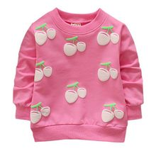 Осенне-весенние свитшоты для девочек топы с длинными рукавами для маленьких детей, милые хлопковые футболки с принтом вишни для детей от 0 до 24 месяцев