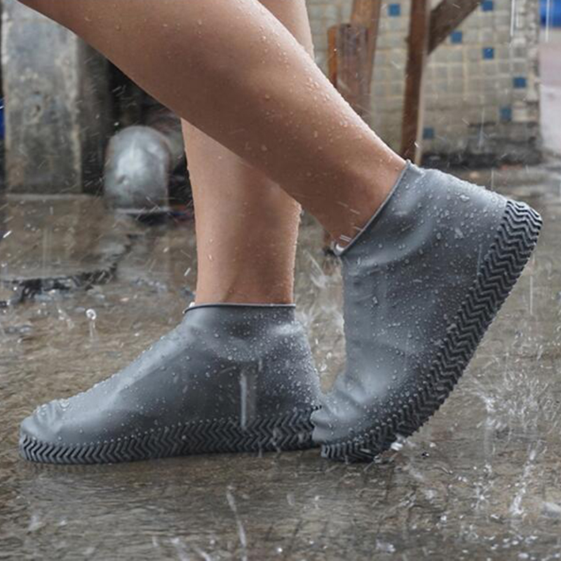 Waterproof Rain Shoes Covers Slip-Resistant Rubber Rain Boot Overshoes White