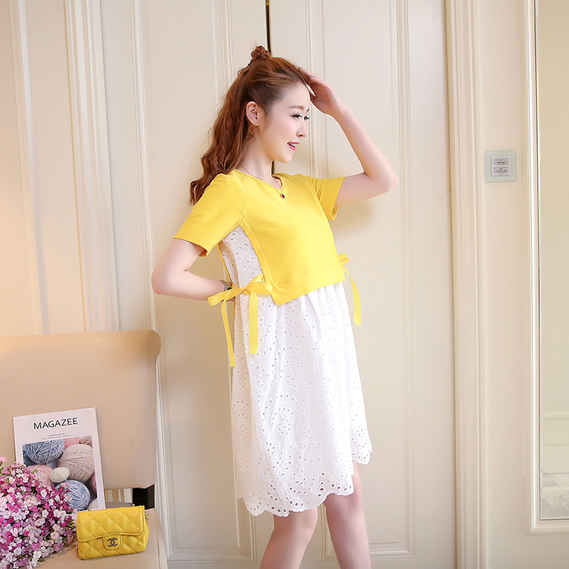 2018 Maternity Dress Lace Floral Pregnancy Clothes Fashion Preppy Style Chiffon Pregnancy Clothing Of Pregnant Women