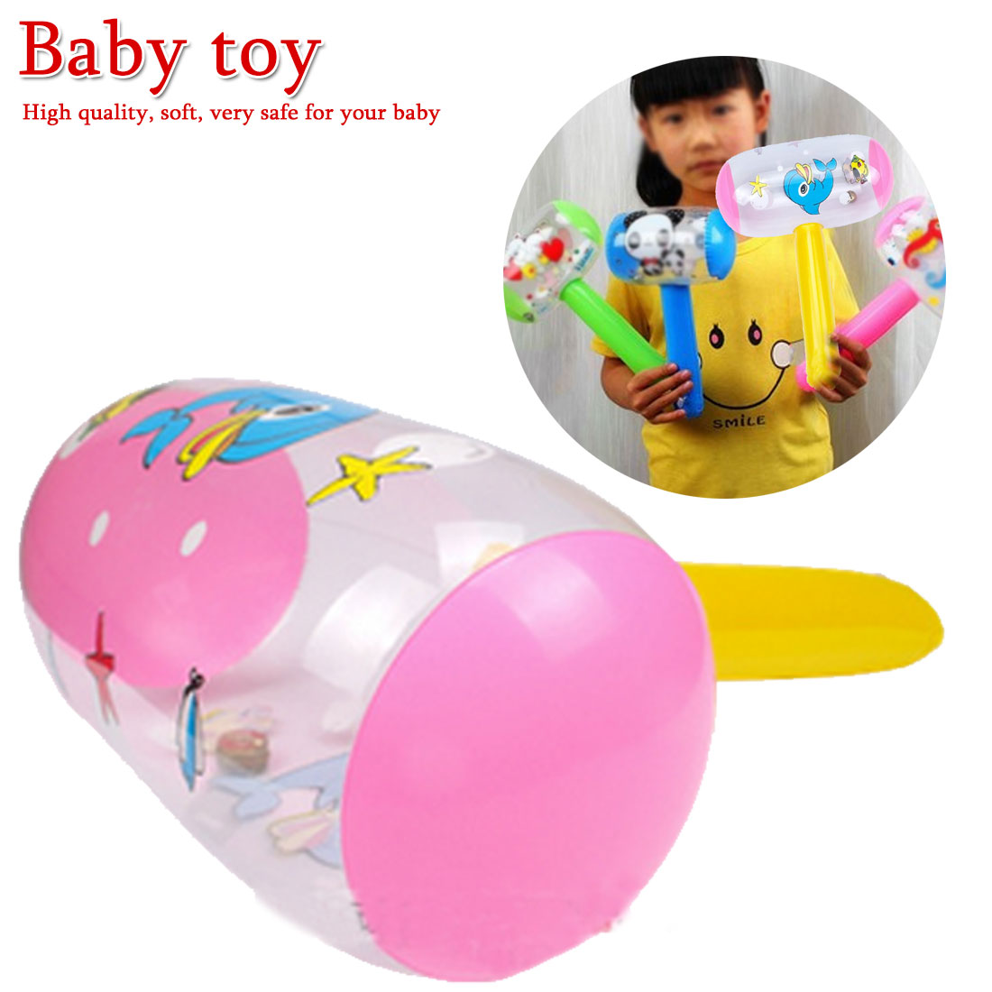 1Pc New Hot Cute Cartoon Inflatable Hammer Air Hammer With Bell Kids Children Blow Up Noise Maker Toys