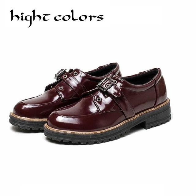 2017 spring japanned leather thick low heel pumps shoes woman slip on creepers buckle fashion oxfords women shoes big size 34-42