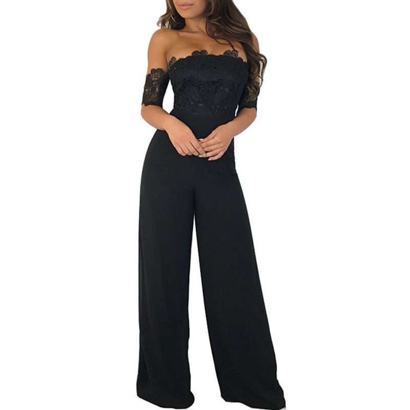 Sexy Strapless Off Shoulder Black Lace Jumpsuit Women Slash Neck Elegant Short Sleeve Overalls Wide Leg Pants Summer Romper XXL