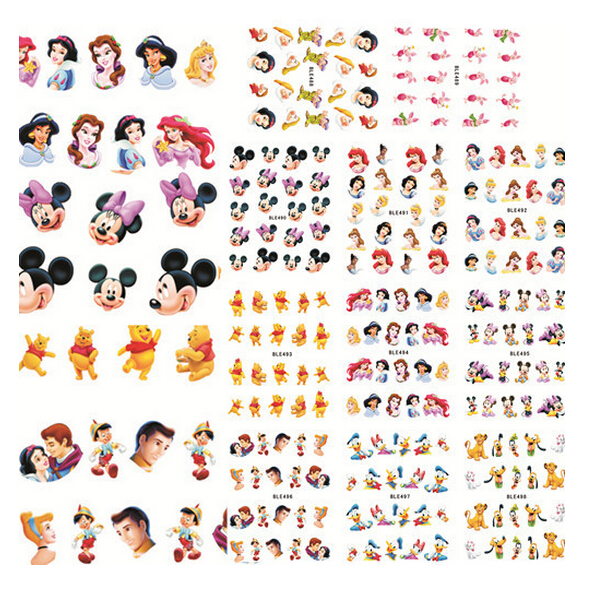 XL 11sheets/lot 11Patterns Nail Water Decal Transfer Stickers Cartoon Mouse Design Nail Wraps Manicure Pedicure DIY BLE488-498