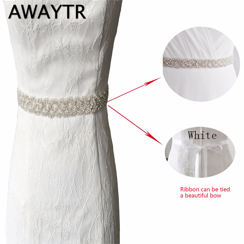 AWAYTR 275cm Women Wedding   Belt   Handmade Dazzling Rhinestone Bridal Sash Satin Ribbon Bride Bridesmaid Dress Ladies   BeltS