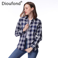 Dioufond Autumn Winter Flannel Plaid Shirt Women Embroidered Pocket Long Sleeve Checkered Blouse Casual Shirts Plus