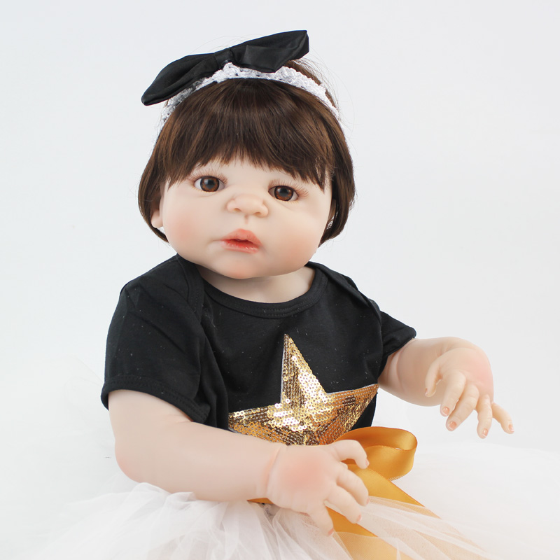 55cm Full Silicone Body Reborn Baby Doll Toys Realistic 22inch Newborn Bebe Princess Toddler Girl Doll Waterproof Body Bathe Toy