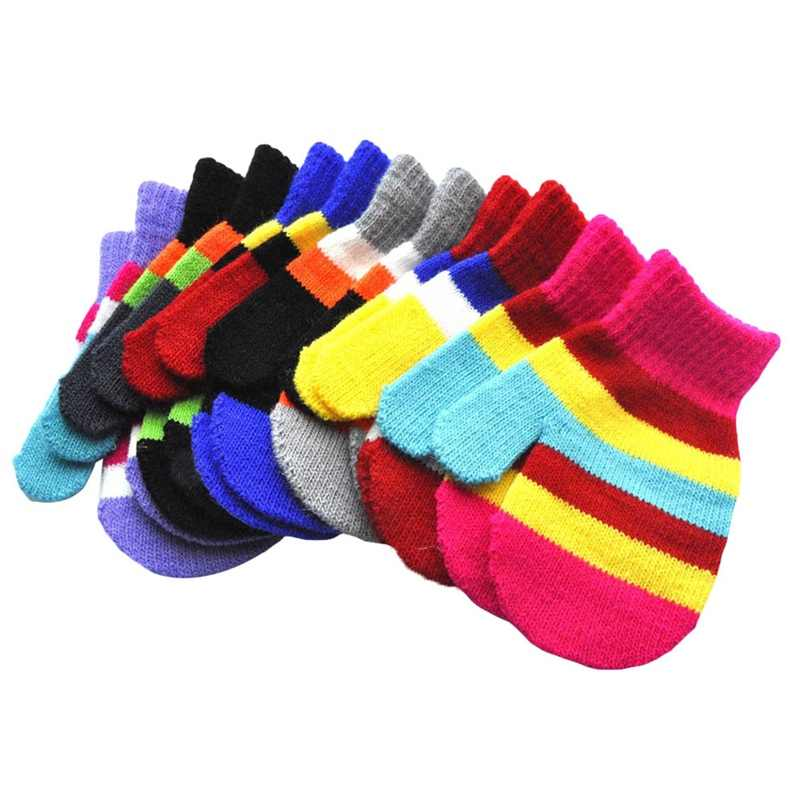 New Baby Infant Winter Cute Striped Multicolor Knitted Boys Girls Warm Gloves Fashion Mittens Winter Accessories