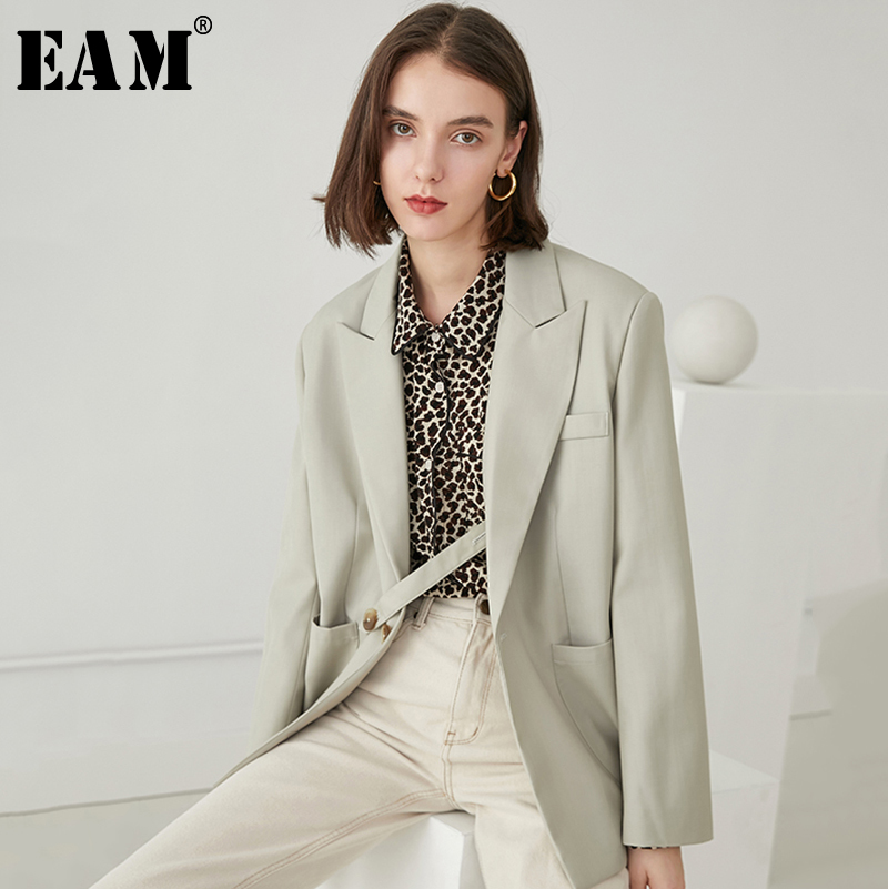 EAM 2019 New Spring Summer Lapel Long Sleeve Gray Green Loose Pocket Button Stitch Jacket