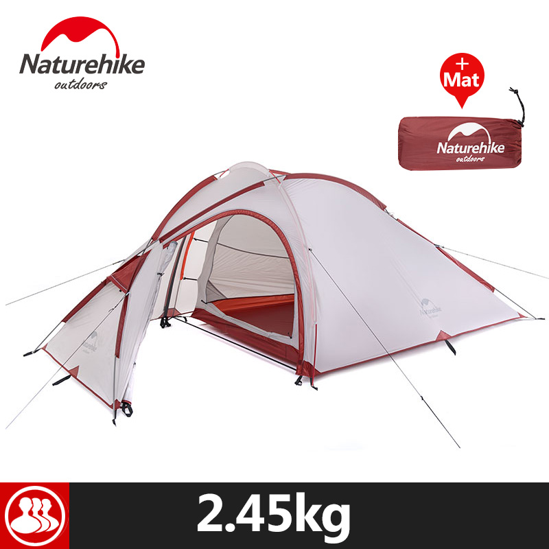 Naturehike 3 Person Camping Tent 20D /210T Fabric Waterproof Double-Layer One Bedroom 3 Season Aluminum Rod Outdoor Camp Tent naturehike 1 person camping tent with mat 3 season 20d silicone 210t polyester fabric double layer outdoor rainproof camp tent