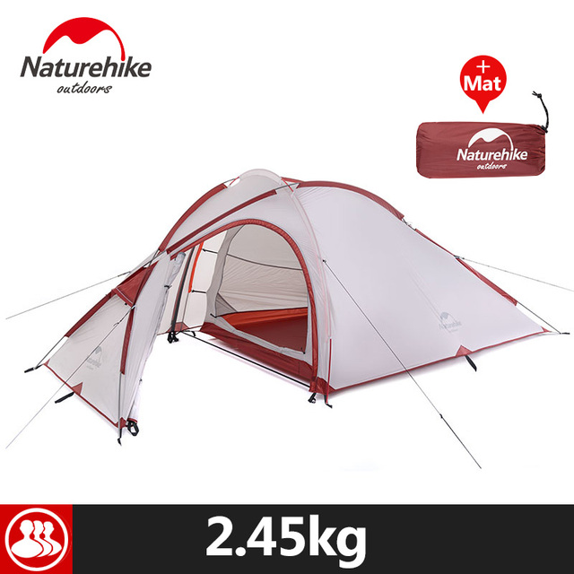 Naturehike 3 Person Camping Tent 20D /210T Fabric Waterproof Double-Layer One Bedroom 3 Season Aluminum Rod Outdoor Camp Tent