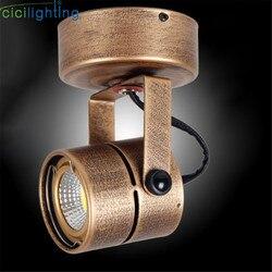 Vintage Mini sufitowe reflektory oświetlenie przemysłowe Retro lampy regulowane do kawiarni sufitowe tło światła brąz Reflektory Lampy i oświetlenie -