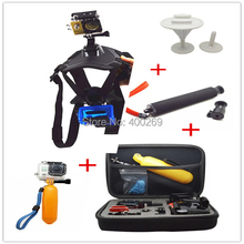 Gopro set accessories surfboard Mount+dog harness strap + selfie stick pole monopod+ travel carry box+ flaoty bobber for Go pro