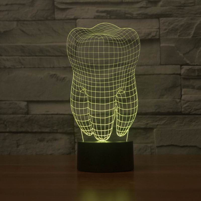 New 3D illusion creative decorative night lamp tooth shape diy - Night Lights - Photo 2