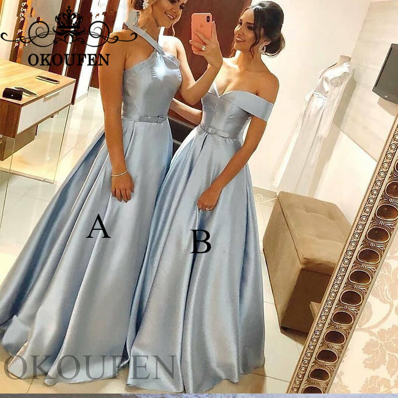 Light Blue Satin Bridesmaid Dresses For Women 2019 Pleat A Line Vestido Madrinha Long Maid Of Honor Dress Party Gown Corset Back