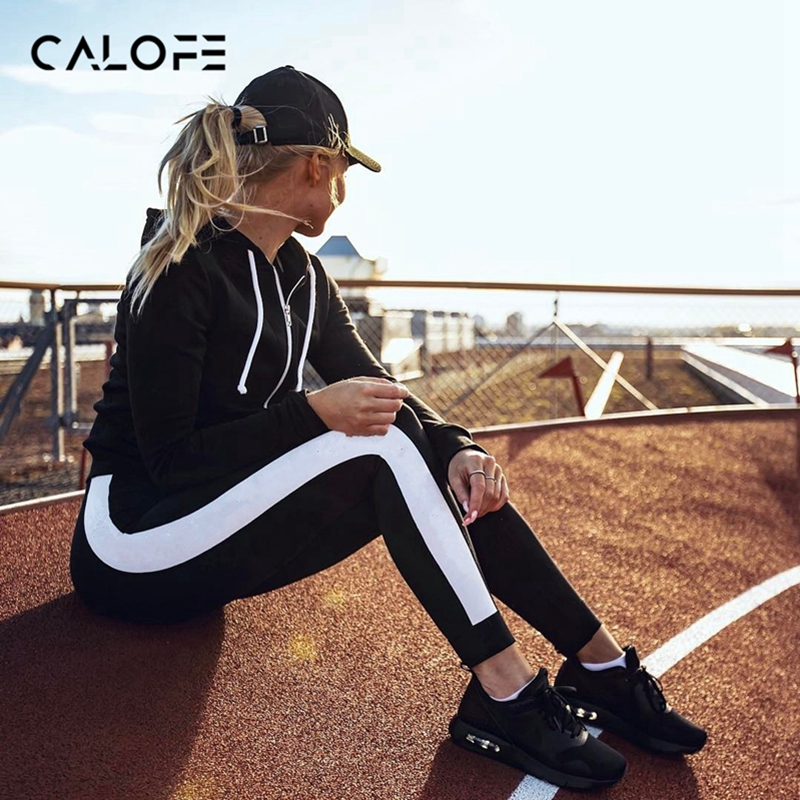 CALOFE 2019 Spring Women Running Pants Slim Fitness Leggings Patchwork Sport Pants Yoga Leggings Gym Fit Training Trousers Z40