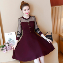 27c166820 Nueva gasa empalme moda coreana yardas grandes Vestido elegante ropa de  fiesta mujer Vestido negro rojo