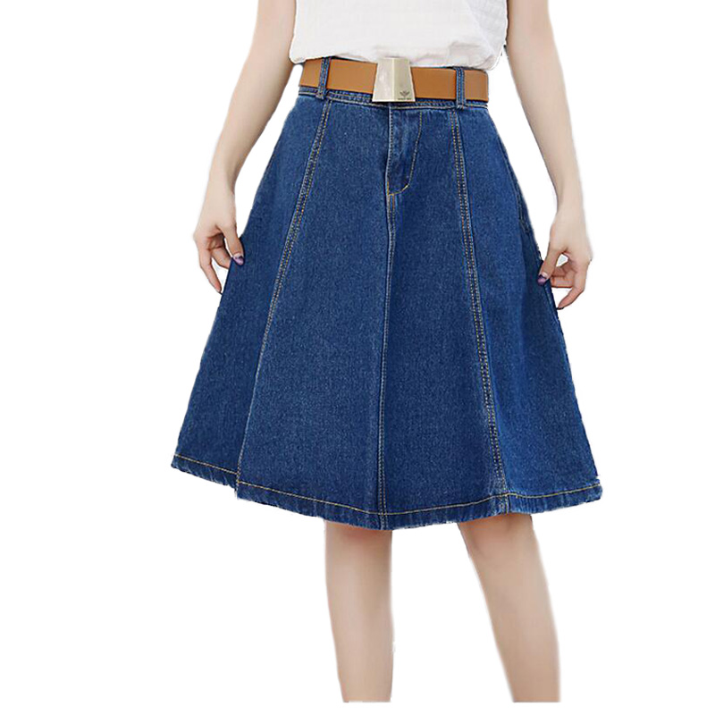 denim knee length skirt page 1 - skirts