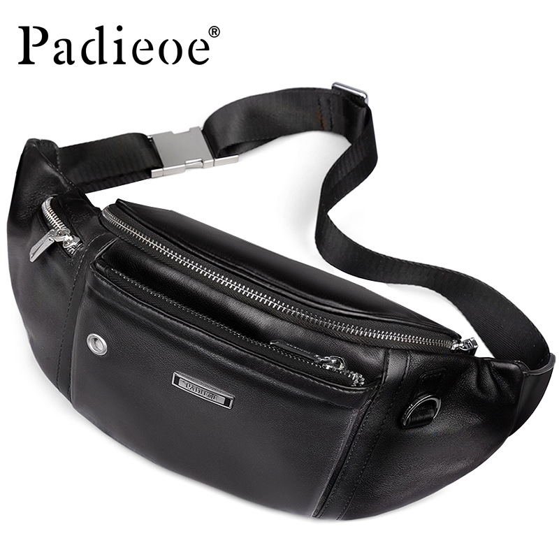 Padieoe Leather Belt Bag for Male Bum Men Fashion Travel Bag for Phone Casual Waist Bags