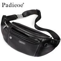 Padieoe Leather Belt Bag for Male Bum Men Fashion Travel Bag for Phone Casual Waist Bags Adjustable Shoulder Strap Fanny Pack