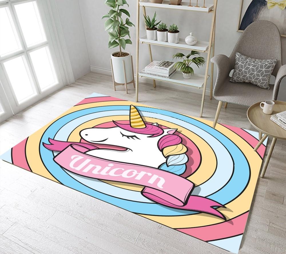 Bedroom Carpet Online Toddler Bedroom Door Gate Bedroom Ceiling Design 2017 Elephant Bedroom Decor: Unicorn Rainbow Circle Rugs And Carpets For Baby Kids Girl