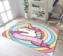 Unicorn Rainbow Circle Rugs And Carpets For Baby Kids Girl Home