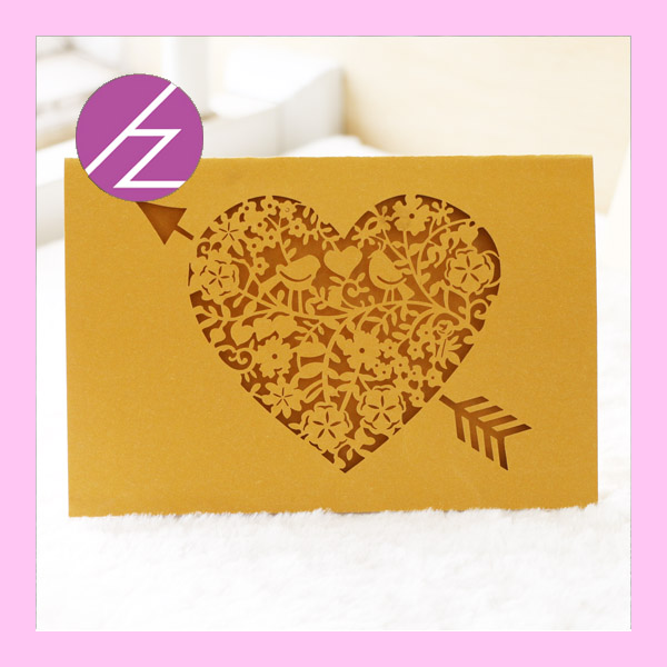 50pcs happy birthday cards wedding cards laser cut design cheap invitation card hot sale heart shape cheap and good quality in cards invitations from - Cheap Birthday Cards