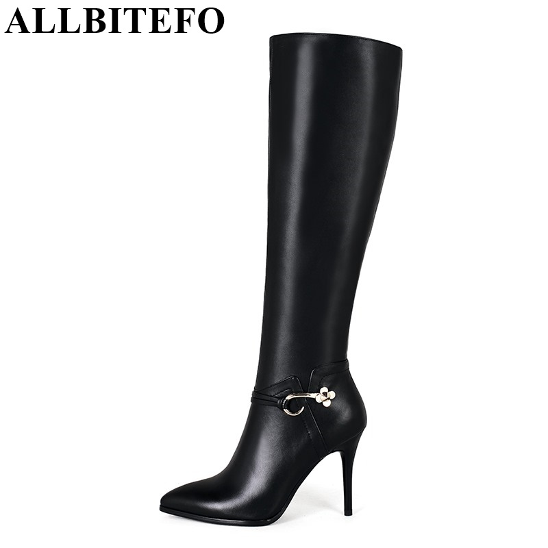 ALLBITEFO Large size:33-43 buckle sexy high heels winter snow boots genuine leather+PU fashion women knee high boots women boots allbitefo golden zip decorate fashion spring winter snow shoes genuine leather pu women boots casual knee high boots size 33 43