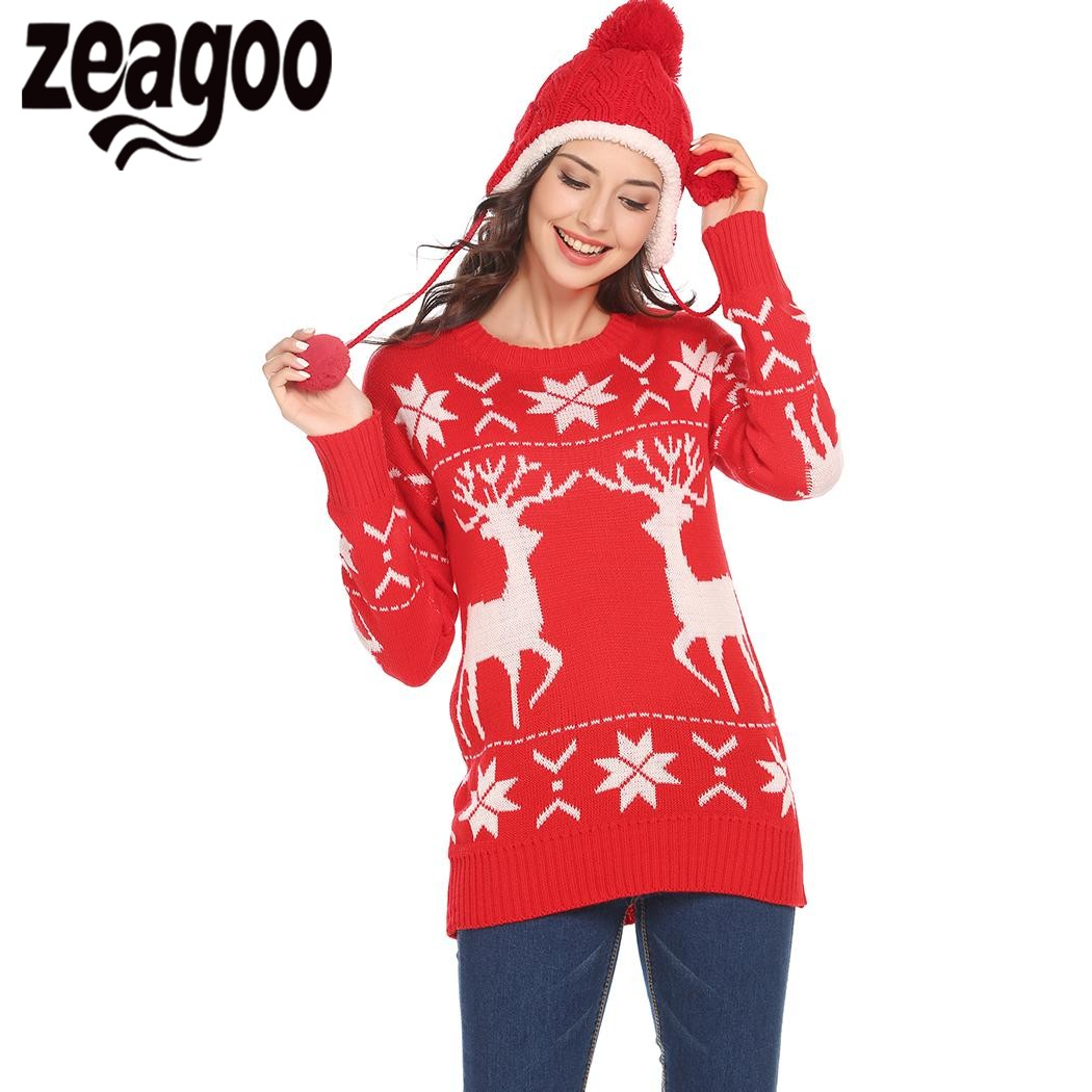 Zeagoo Autumn Winter Christmas Sweater Women O-Neck Long Sleeve Geometric Christmas Casual Pullover Sweater pull femme hiver