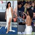 Hundiendo cuello en V Rihanna celebrity Dresses 2016 vestidos sin espalda raja del frente largo Ruffles Red carpet Formal del partido 2016 Prom largo baile vestido