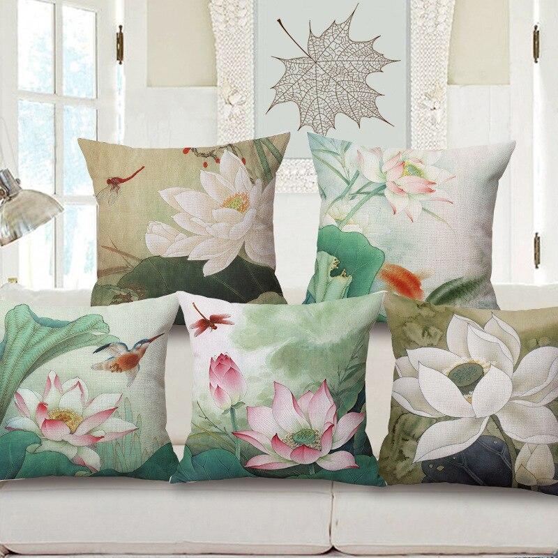 Pintura A Tinta de Lótus de alta Qualidade Floral Decorotive Sofa Jogar Fronha de Algodão de Linho Capa de Almofada 45x45 cm Capas De Almofada