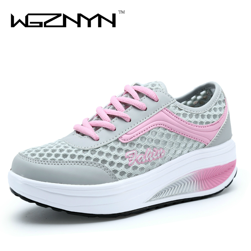 WGZNYN 2017 Summer New Arrival Women Fashion Flats Girls Casual Shoes Lacing Female Breathable Light Platform Shoes