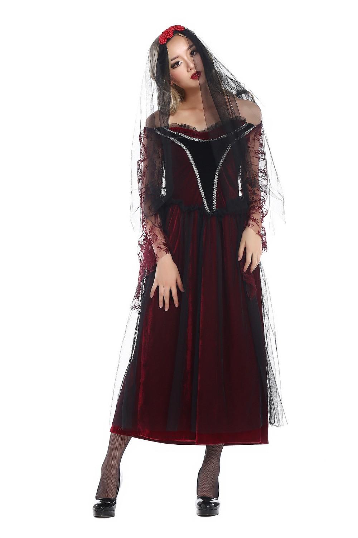 Dark Zombie Costumes Scary Halloween Costume for Adult Women Cosplay Ghost Bride Vampire Fancy Dress