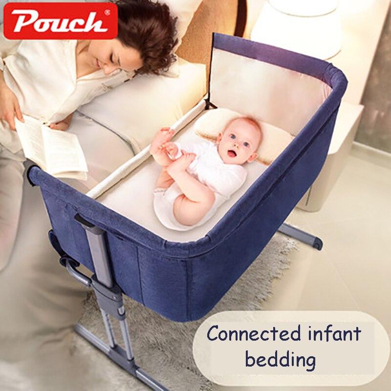 Beutel H05 Baby Tragbaren Bett verbunden mit eltern normalen große bett Infant Reise Sleeper Tragbaren Kinderbett atmungs falten krippe