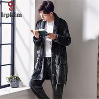 2pcs Pajamas Men Cotton Long sleeve Knitted Cotton Sleep Winter And Autumn Mens Pyjamas Lounge Men Pajama Robes SY654