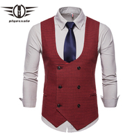 2019 New Classic Houndstooth Plaid Men Vests Vintage Green Red Gray Wedding Vest Men Double Breasted Sleeveless Jacket Q571