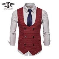 2343e8f8d80674 ... Anzug Weste männer Schwarz Grau Formale Businss hochzeit Kleid. 2019  New Classic Houndstooth Plaid Men Vests Vintage Green Red Gray Wedding Vest  Men ...