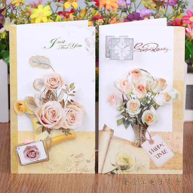 Romantic 3d flower print paper greeing cards love letters writing