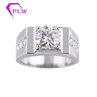 14K White Gold Main Stone 3ct 9mm Side 3mm D Color Moissanite Diamond men Ring Engagement Ring from Provence Jewelry